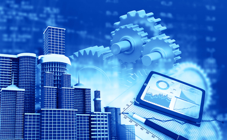 Business growth chart, gear and skyline city. 3d illustration
