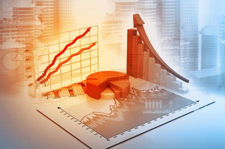 3d 그래프 및 디지털 비즈니스 배경에 차트 스톡 콘텐츠