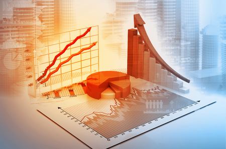 3d graph and charts on digital business background