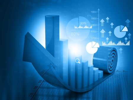 nasdaq: 3d Business growth chart. financial charts on abstract business background Stock Photo