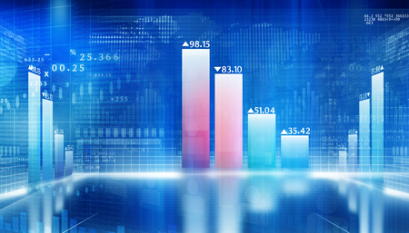 nasdaq: 3d Business growth chart. Global financial charts on abstract business background Stock Photo