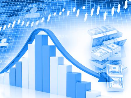 Business graph, Stock market. Financial background. 3d render.