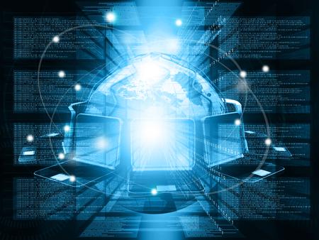 Computer network and internet technology. 3d render