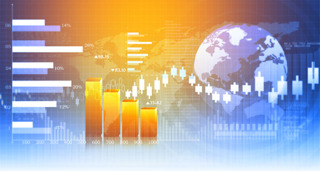 price gain: 3d Business growth chart. Global financial charts on abstract business background Stock Photo