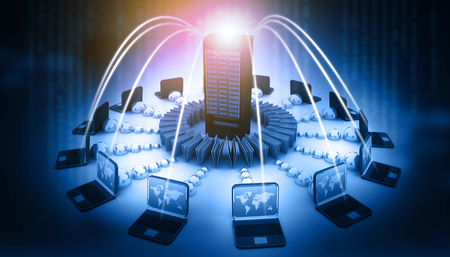 Computer Network and internet communication concept. 3d illustration Stock Photo