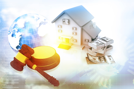 Gavel with house and dollar. Real estate auction. 3d illustration Foto de archivo