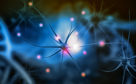 Neuron cells on abstract blue background. 3d illustration Stock Photo