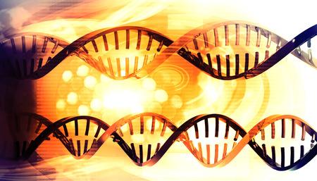 3d DNA strands on science background