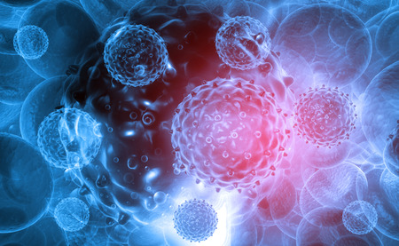 Virus on abstract background. 3d render  Stok Fotoğraf