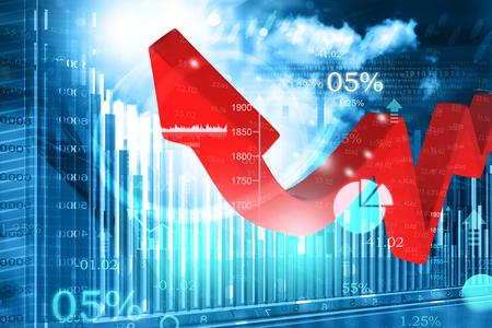 3d business arrow chart showing  financial growth  Archivio Fotografico