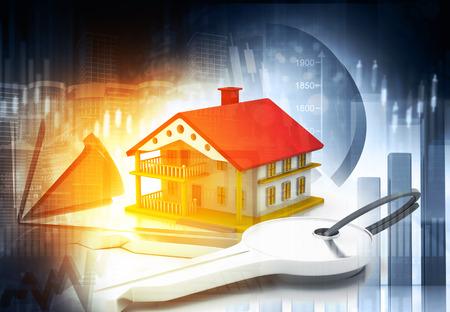 Real estate growth cart. 3d illustration