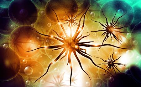 Virus on abstract background. 3d render  Foto de archivo