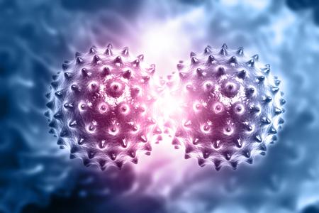 Virus on medical background. 3d illustration