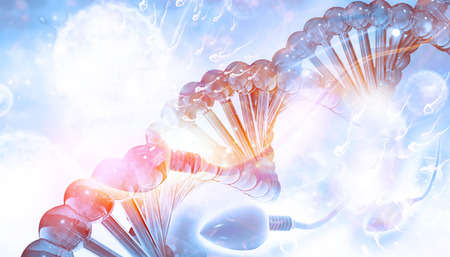 DNA and sperm on blue background   Stock Photo