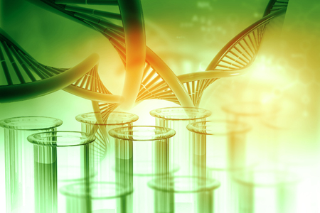 Test tube with DNA on abstract background. 3d illustration
