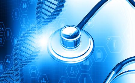科学背景に聴診器で 3 d の DNA