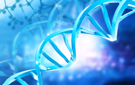 DNA structure on abstract digital background. 3d illustration
