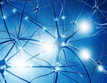 Neuroncellen op abstracte blauwe achtergrond. 3D illustratie Stockfoto