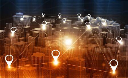 City map or city network. 3d illustration Stok Fotoğraf - 90941420