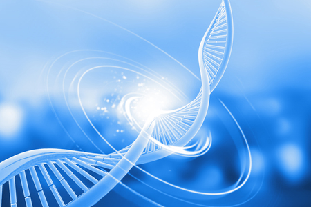 Dna on abstract background. 3d illustration  Imagens