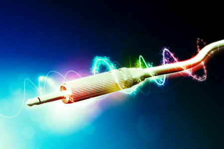 Audio cable in abstract background. 3d illustration   Stock Photo