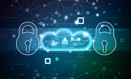Pad lock with cloud on blue background. Cloud security concept. 2d illustration