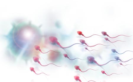 Sperm cells. 3d render