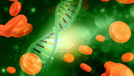 DNA molecules on blue background. 3d illustration  Stock Photo