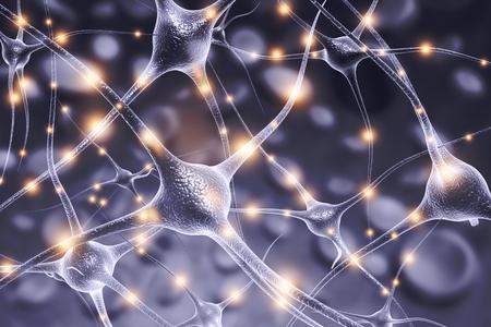 Neuron cells on abstract blue background. 3d illustration Foto de archivo