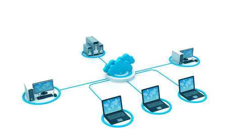 Cloud computing network , 3d illustration, abstract background