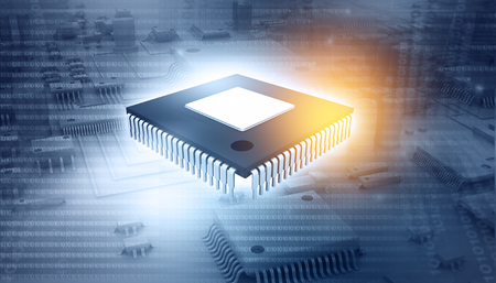 3d illustration of ic chip on circuit board Imagens