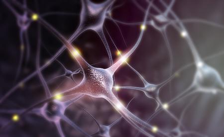 Cellules de neurones sur fond bleu abstrait. Illustration 3d