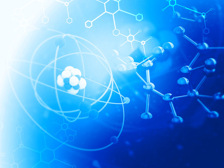 Atom with molecules. Abstract science background. 3d illustration Reklamní fotografie