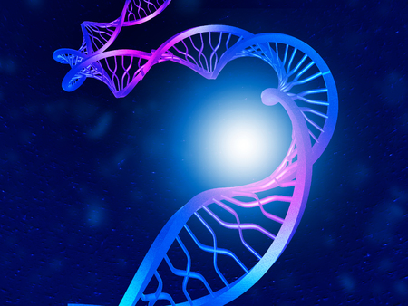 DNA on  dark blue background. 3d illustration