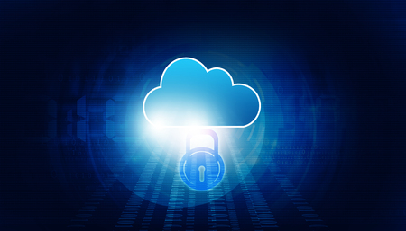 Cloud computing security concept. Digital illustration