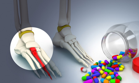 Foot skeleton and pill. 3d illustration