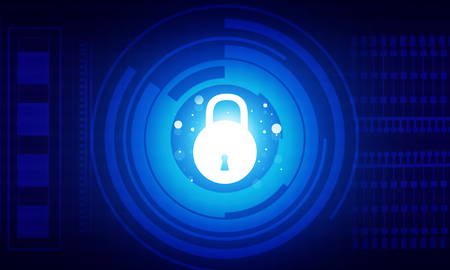 internet security concept. Closed padlock  with blue digital background Reklamní fotografie