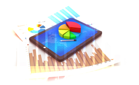 Financial growth graph. 3d illustration