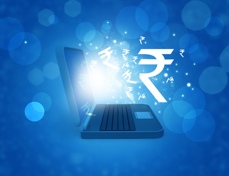 Indian rupee symbol in laptop. Online business concept. Digital illustration