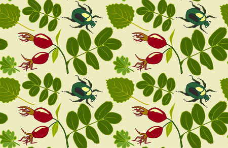 Vector floral pattern with leaves, rosehips and bugs Standard-Bild - 98082010