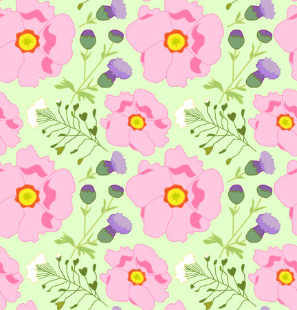 Vector seamless pattern with pink flowers.