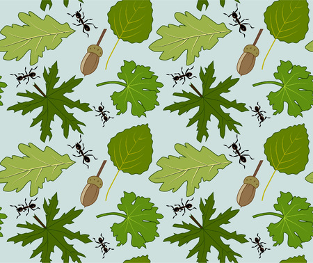 A Vector floral pattern with leaves, acorn and ants.