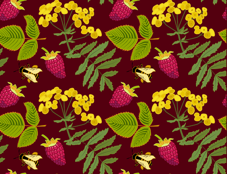 Vector floral pattern with leaves, yellow flower, raspberries and bees Illustration