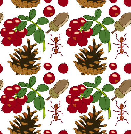 Summer pattern with lingonberry, acorn, ant and cone.