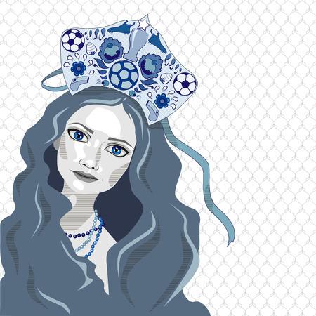 Russian girl in kokoshnik with soccer ball, vector illustration, white and blue Illustration