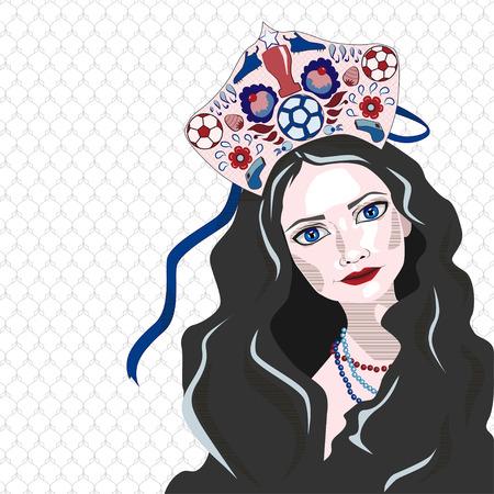 Russian girl in kokoshnik with soccer ball, vector illustration, white  blue  red Illustration
