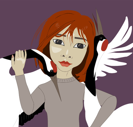 Asian girl with red hair and red-crowned cranes, vector illustration Illustration