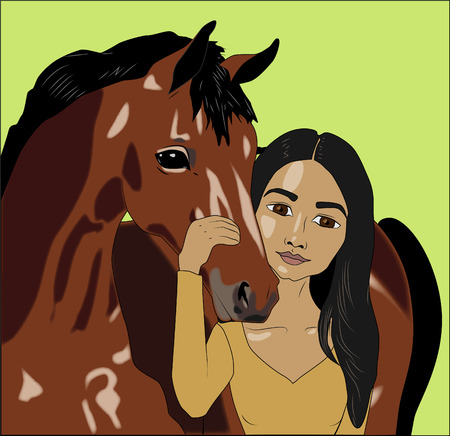 Native american woman with horse, vector illustration
