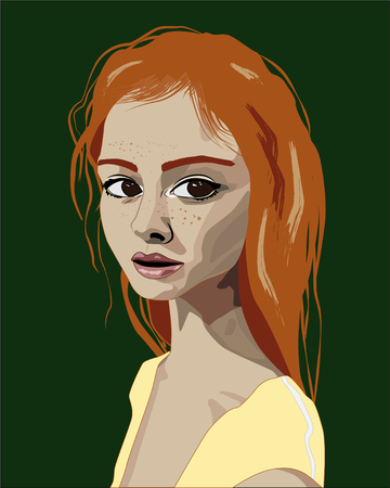 Realistic girl with long red hair, green background, vector illustration Ilustração