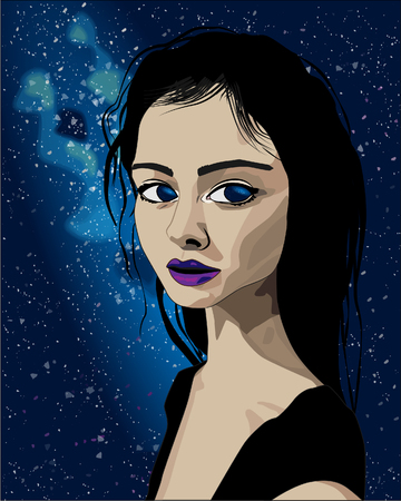 Realistic girl with long black hair, space background, vector illustration